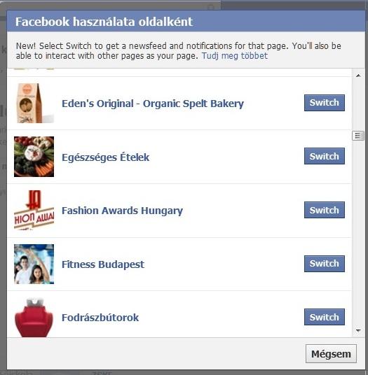 facebook átváltátás oldalként