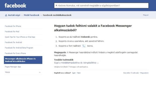 facebook call