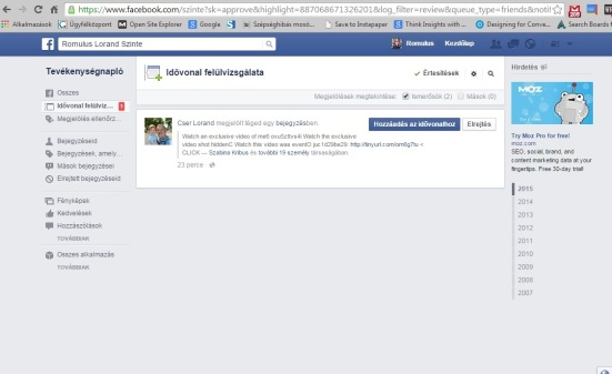 facebook tevékenység jóváhagyása